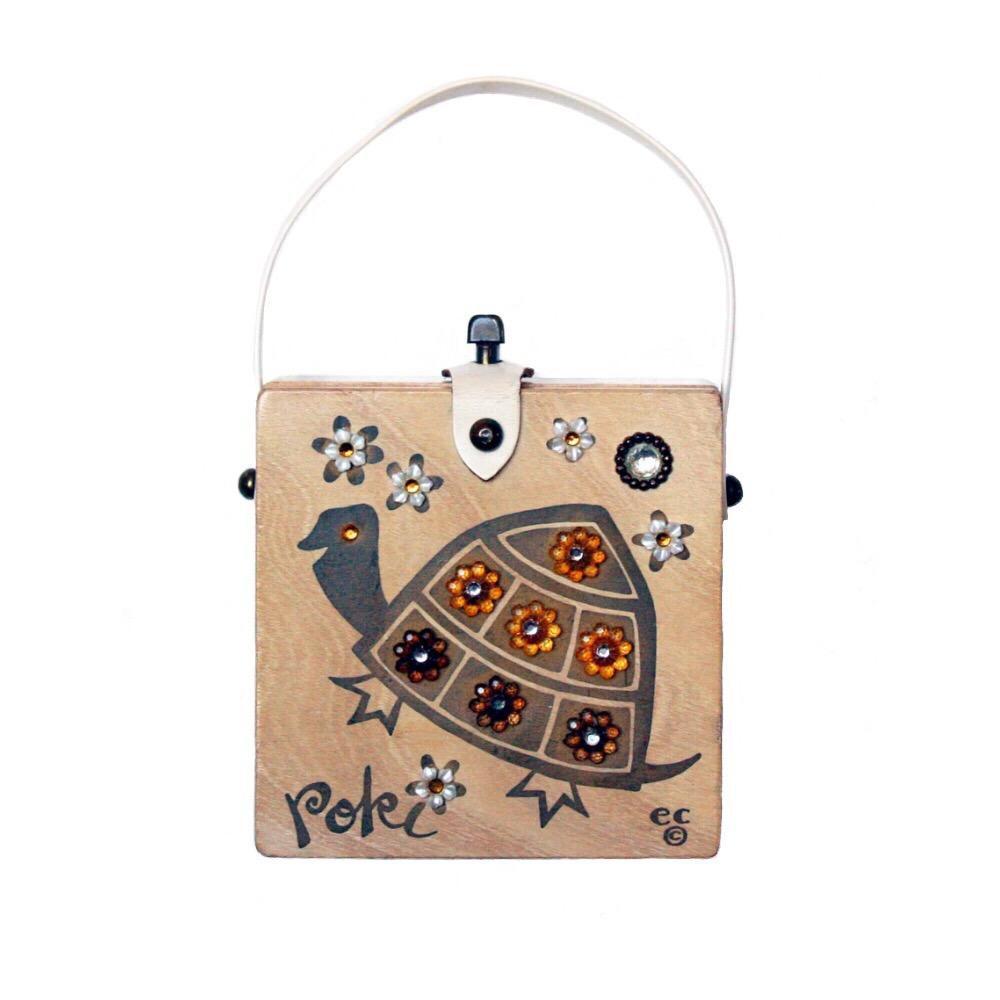 "Enid Collins of Texas ""Poki"" box bag   height - 4 1/4"" width - 8 1/2"" depth - 1 7/8"""