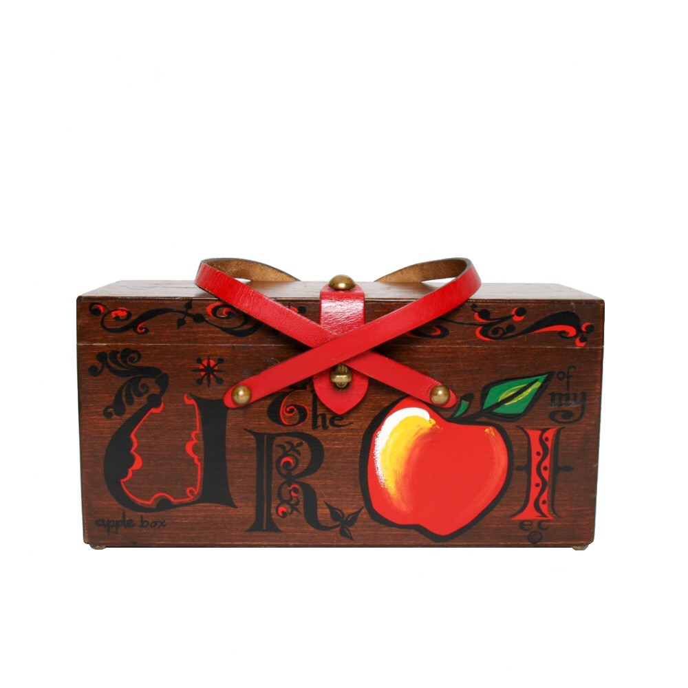 "Enid Collins of Texas 1966 ""U R the Apple of my I"" box bag   height - 5 3/8""   width -11 1/8""   depth - 4 3/8"""