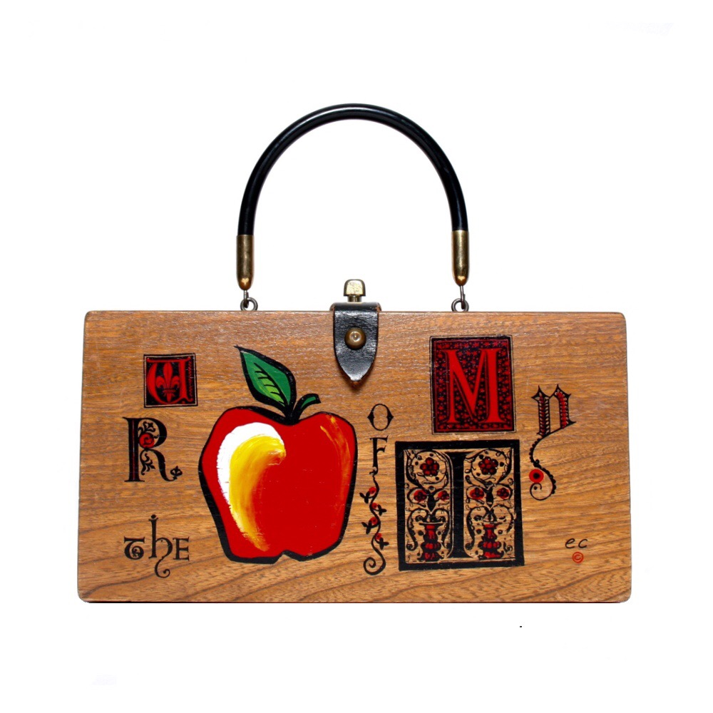"Enid Collins of Texas 1966 ""U R the Apple of my I"" box bag   height - 5 7/8""   width -11 1/8""   depth - 2 3/4"""