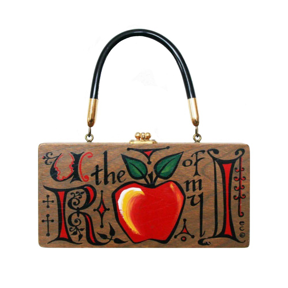 "Enid Collins of Texas 1967 ""U R the Apple of my I"" box bag   height - 4 1/4""   width - 8 1/2""   depth - 1 7/8"""