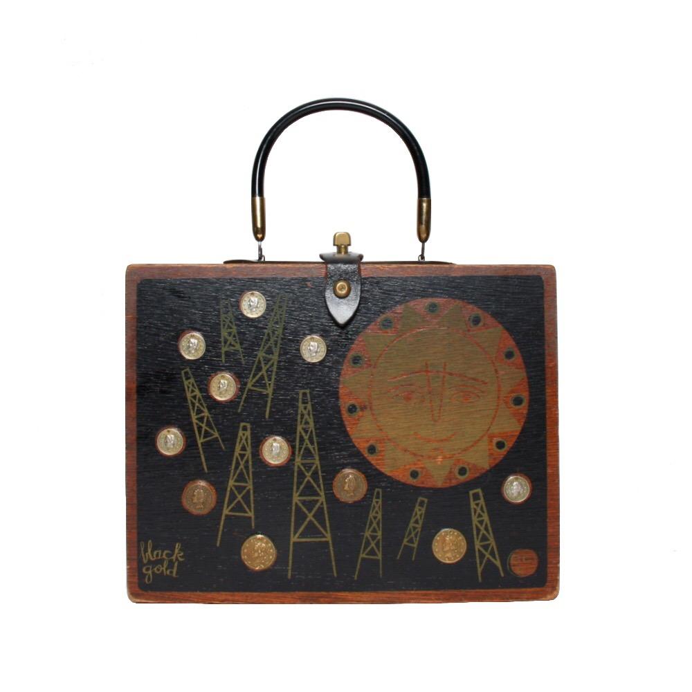 "Enid Collins of Texas 1963 ""black gold"" box bag   height - 8 1/2"" width - 11""  depth - 2 3/4"""