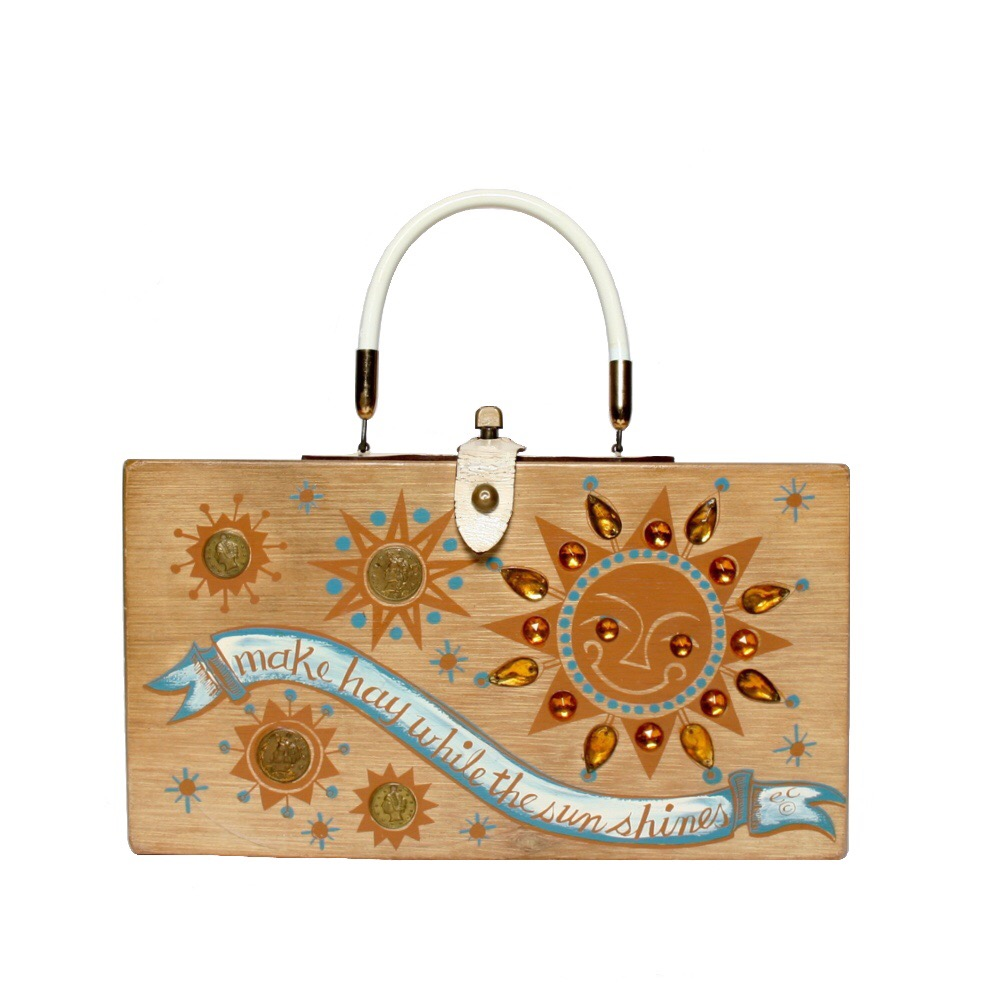 "Enid Collins of Texas 1962 ""make hay while the sun shines"" box bag   height - 6 1/2""    width - 11 3/4""    depth  - 2 3/4"""