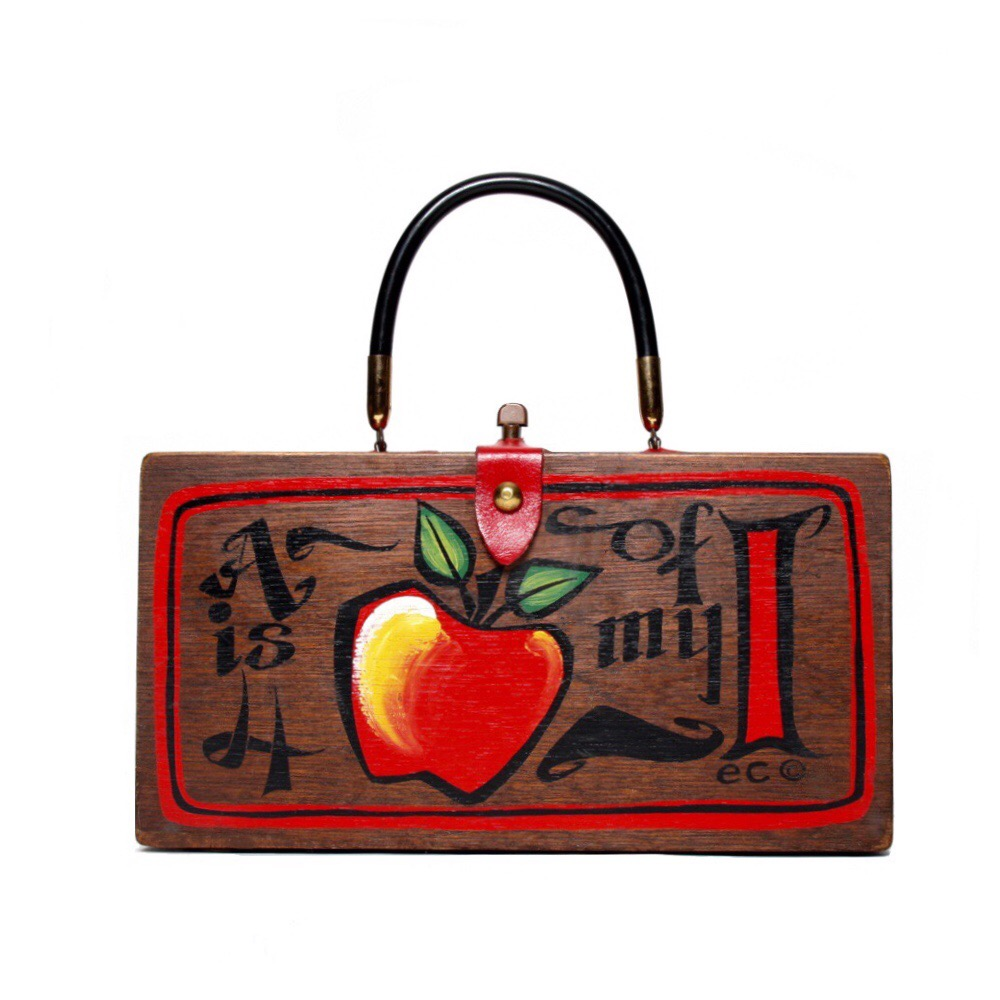"Enid Collins of Texas 1965 ""A is 4 Apple of my I"" box bag   height - 5 3/4""    width - 11 1/8""    depth - 2 3/4"""
