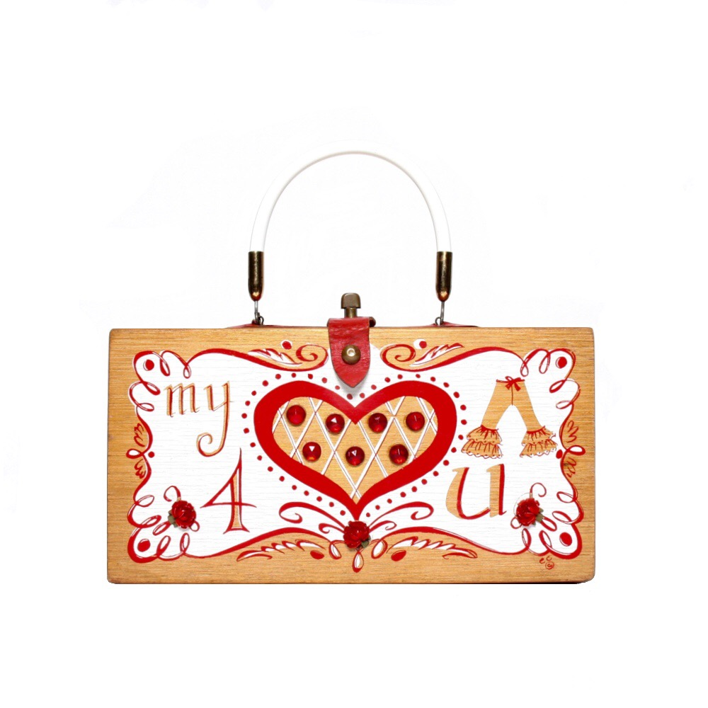 "Enid Collins of Texas 1962 ""my heart pants 4 U"" box bag   height - ""    width - ""     depth - """