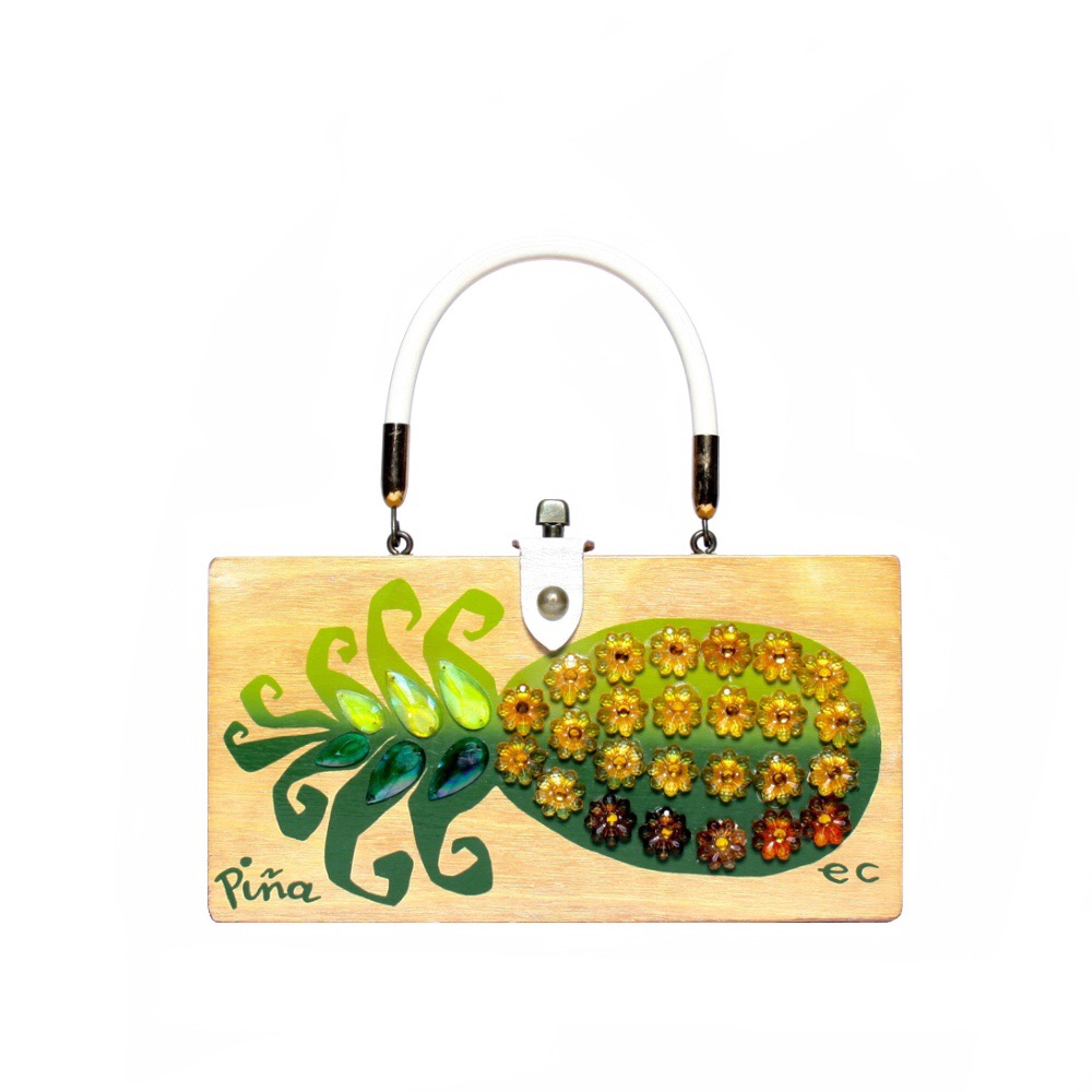 "Enid Collins of Texas ""Piña"" box bag   height - 4 7/8""   width - 9 3/8""   depth - 2 1/4"""