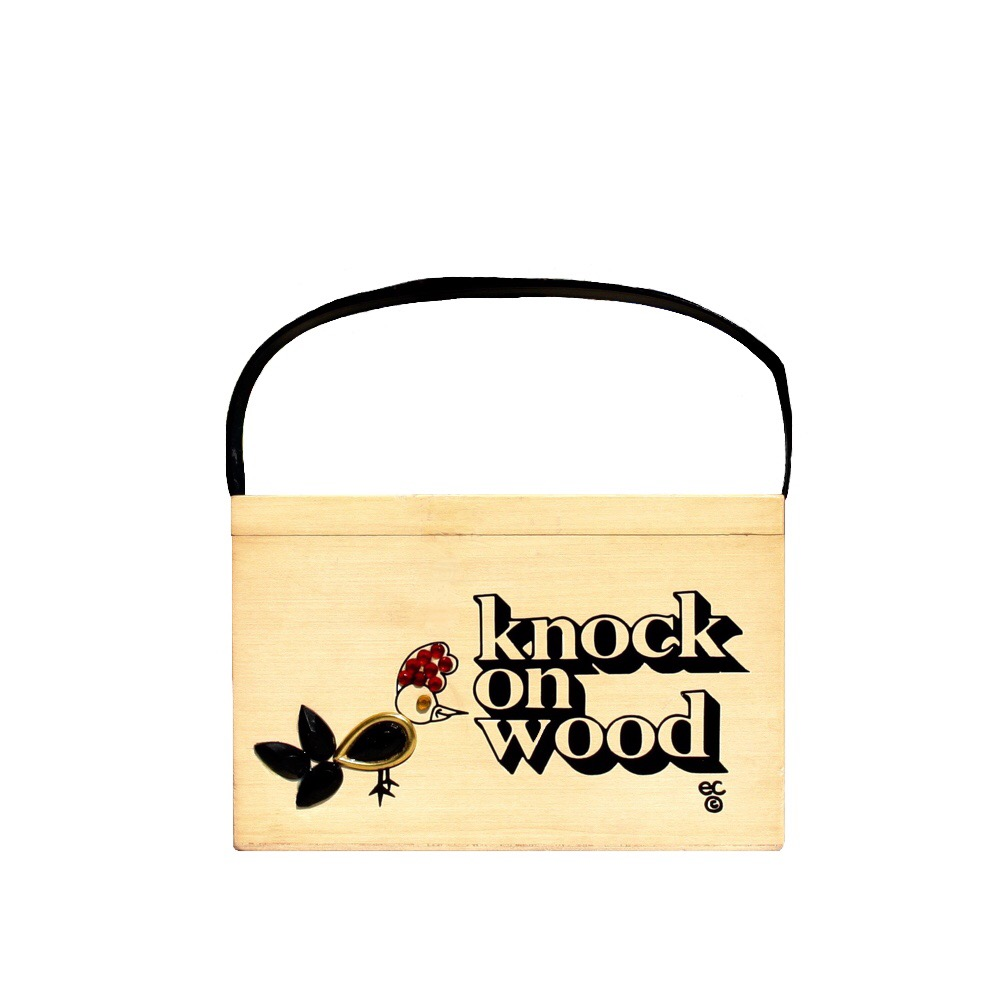 "Enid Collins of Texas ""knock on wood"" box bag   height  -  ""     width - ""    depth - """
