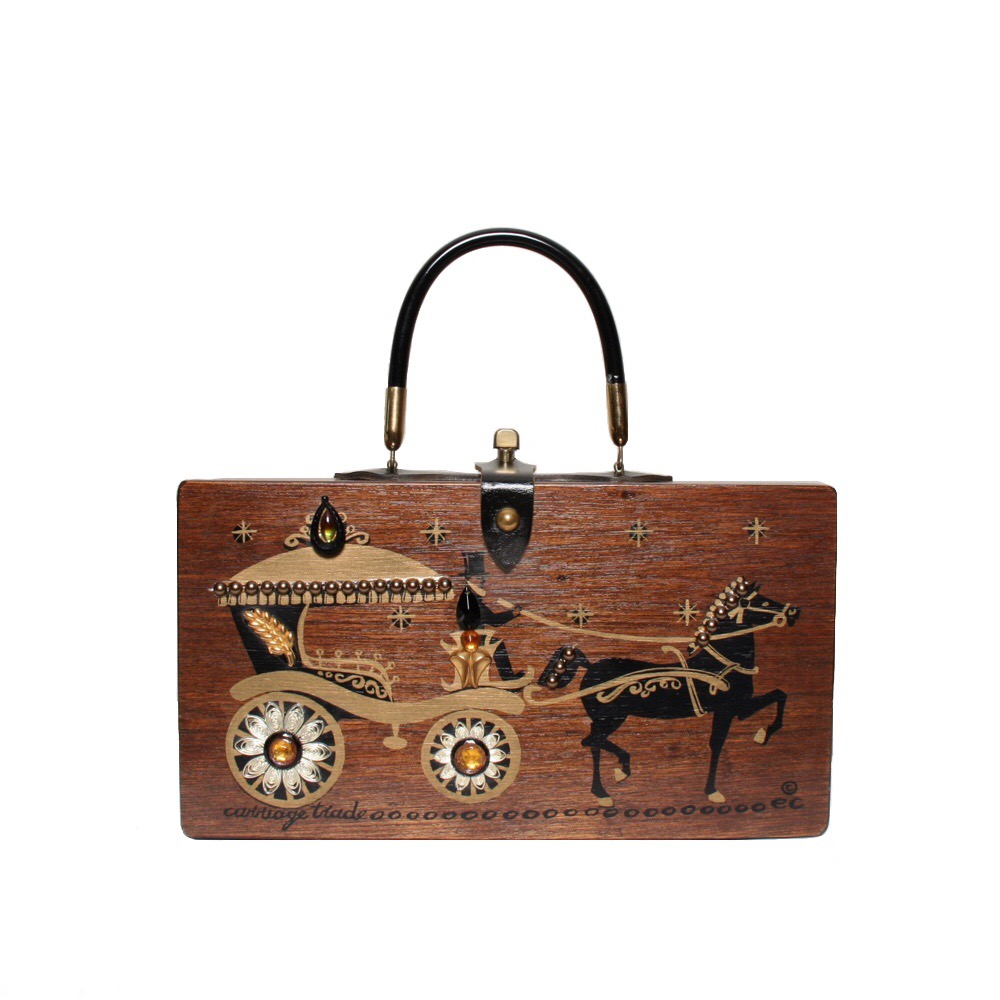 """Enid Collins of Texas 1962 """"carriage trade"""" box bag   height - 6 1/2""""  width - 11 3/4""""  depth - 2 3/4"""""""