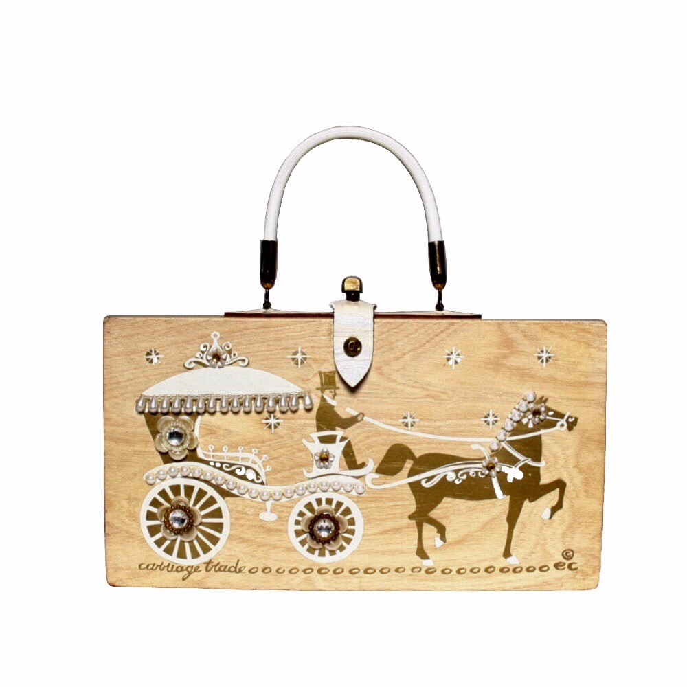 """Enid Collins of Texas 1962 """"carriage trade"""" box bag   height - 6 1/2""""  width - 11 7/8""""  depth - 2 3/4"""""""