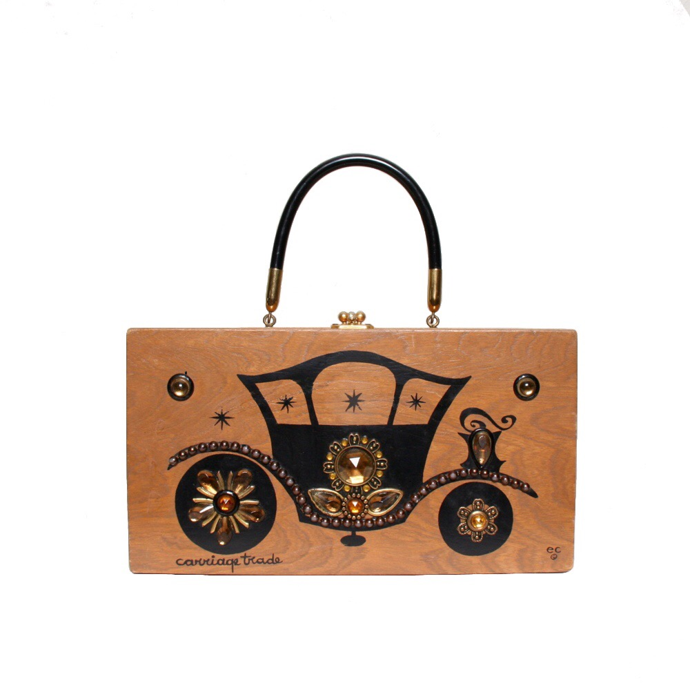 """Enid Collins of Texas 1967 """"carriage trade"""" box bag   height - 6 1/2""""  width - 12""""  depth - 2 3/4"""""""