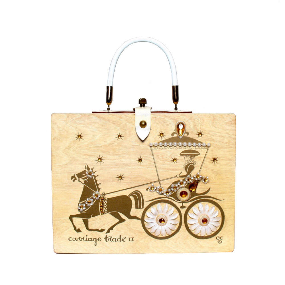 """Enid Collins of Texas 1964 """"carriage trade II"""" box bag   height - 8 5/8""""  width - 11 1/8""""  depth - 2 3/4"""""""