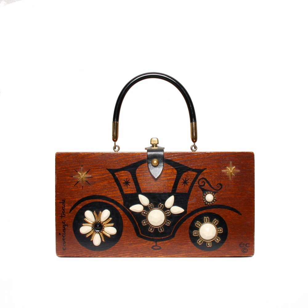 """Enid Collins of Texas """"carriage trade"""" box bag   height - 5 7/8""""  width - 11 1/8""""  depth - 2 3/4"""""""