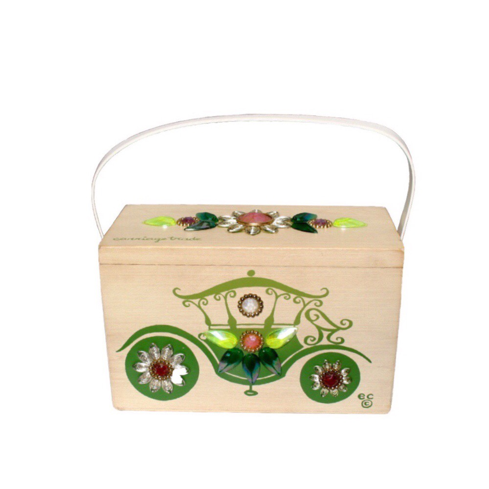 """Enid Collins of Texas """"carriage trade"""" box bag   height - 5 3/8""""  width - 8 5/8""""  depth - 4 1/4"""""""