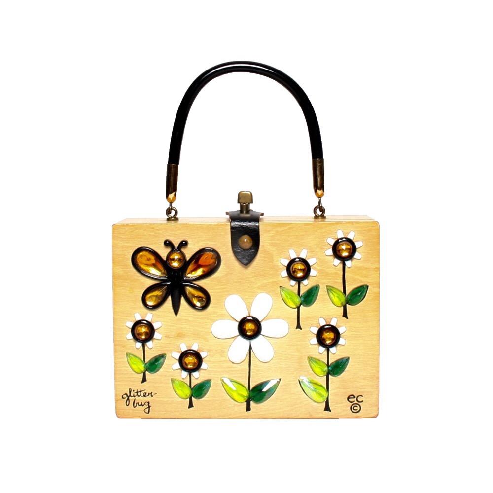 "Enid Collins of Texas ""glitterbug"" box bag   height - 6""  width - 8""  depth - 2 3/8"""