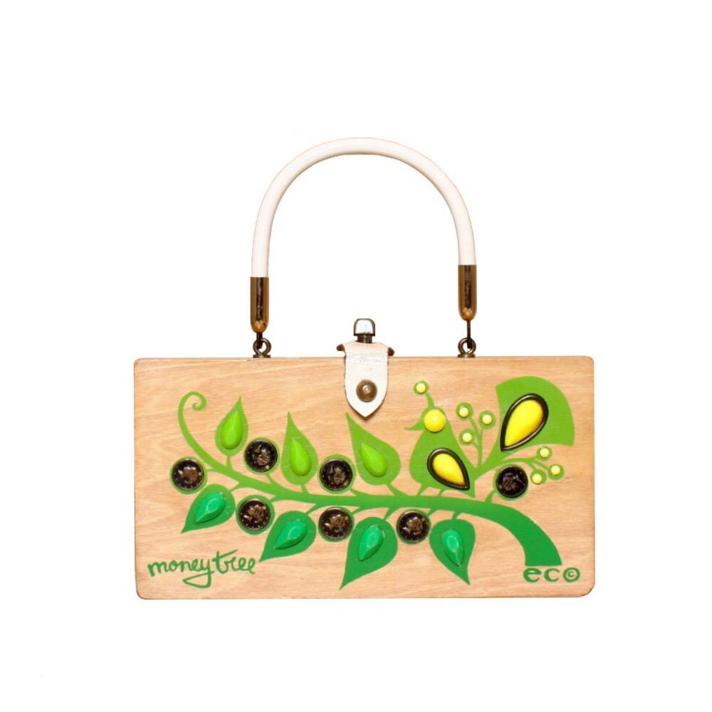 "Enid Collins of Texas ""money tree"" box bag   height - 5"" width - 9 3/8""   depth - 2 3/8"""
