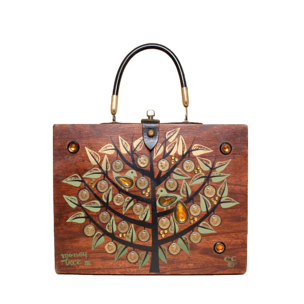 "Enid Collins of Texas 1966 ""money tree III"" box bag   height - 8 5/8""  width - 11 1/8""  depth - 2 3/4"""