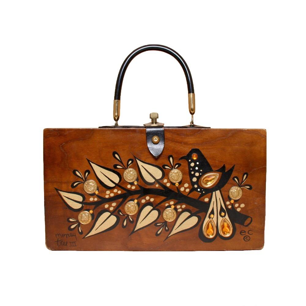 "Enid Collins of Texas 1964 ""money tree IX"" box bag   height -5 3/4"" width - 11 1/8"" depth - 2 3/4"""
