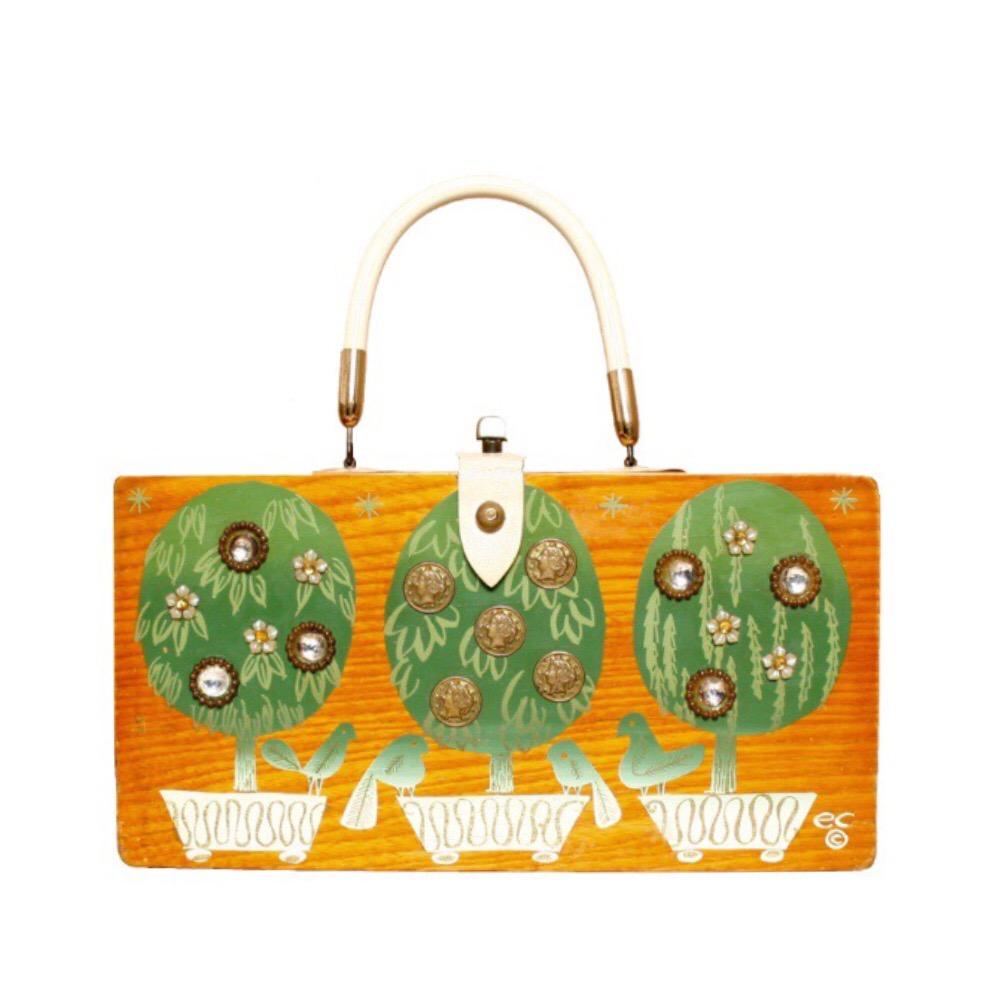 "Enid Collins of Texas 1965 ""money tree XII"" box bag   height- 5 7/8""  width - 11 1/8""  depth - 2 3/4"""
