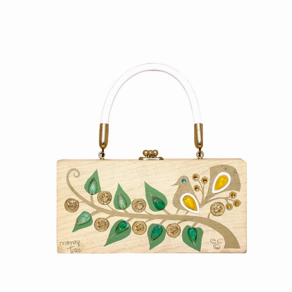 "Enid Collins of Texas ""money tree"" box bag   height - 4 1/4""  width - 8 5/8""  depth - 1 7/8"""