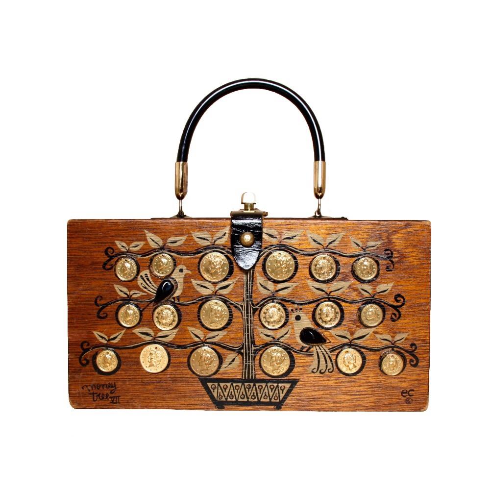 "Enid Collins of Texas 1963 ""moneytree VII"" box bag   height - 5 7/8""  width - 11 1/8""  depth - 2 3/4"""