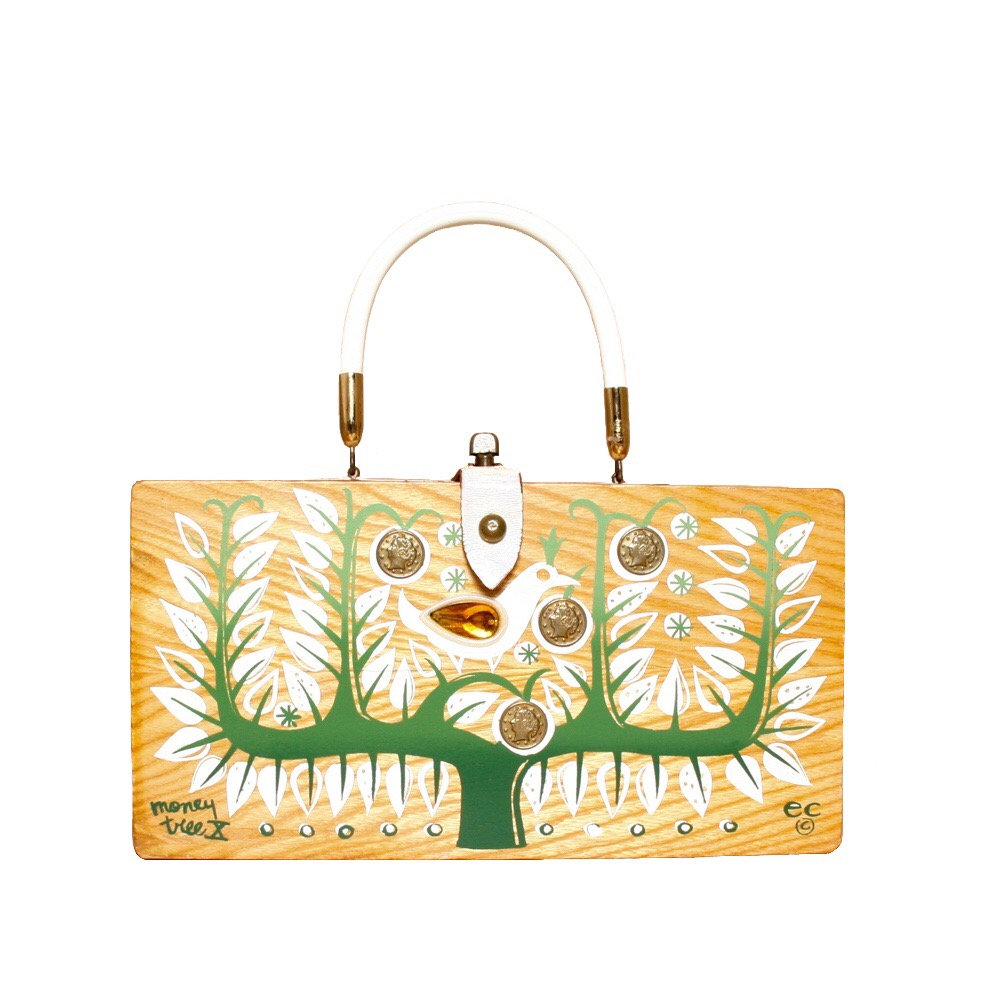 "Enid Collins of Texas 1964 ""moneytree X"" box bag   height - 5 7/8""  width - 11 1/8""  depth - 2 3/4"""