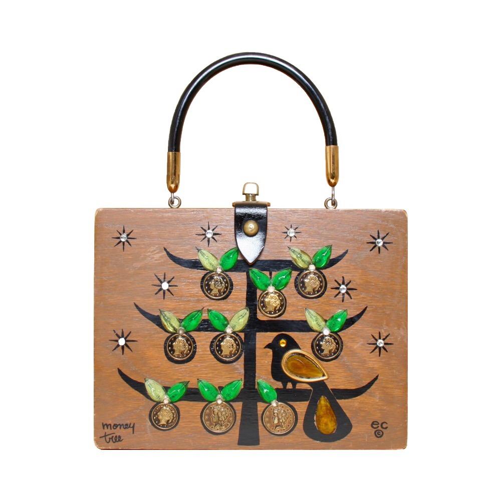 "Enid Collins of Texas ""moneytree"" box bag   height - 6 5/8""  width - 8 5/8""  depth - 2 3/4"""
