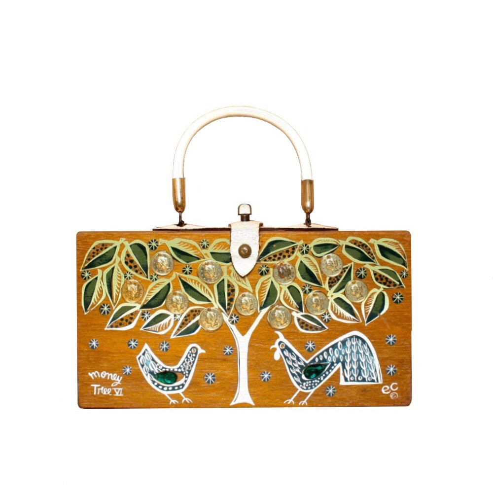 "Enid Collins of Texas 1962 ""moneytree VI"" box bag   height- 5 3/4""  width - 11""  depth - 2 3/4"""