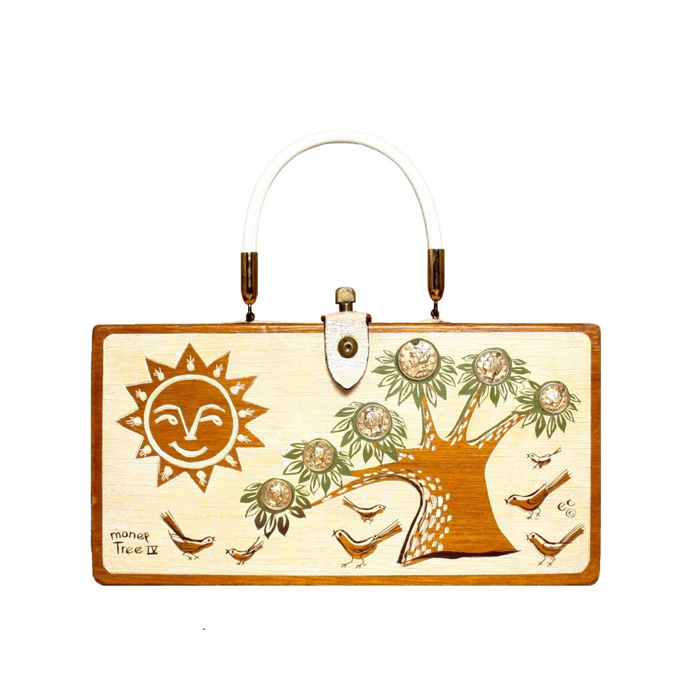 "Enid Collins of Texas 1967 ""moneytree IV"" box bag   height - 5 3/4""  width - 11""  depth - 2 3/4"""