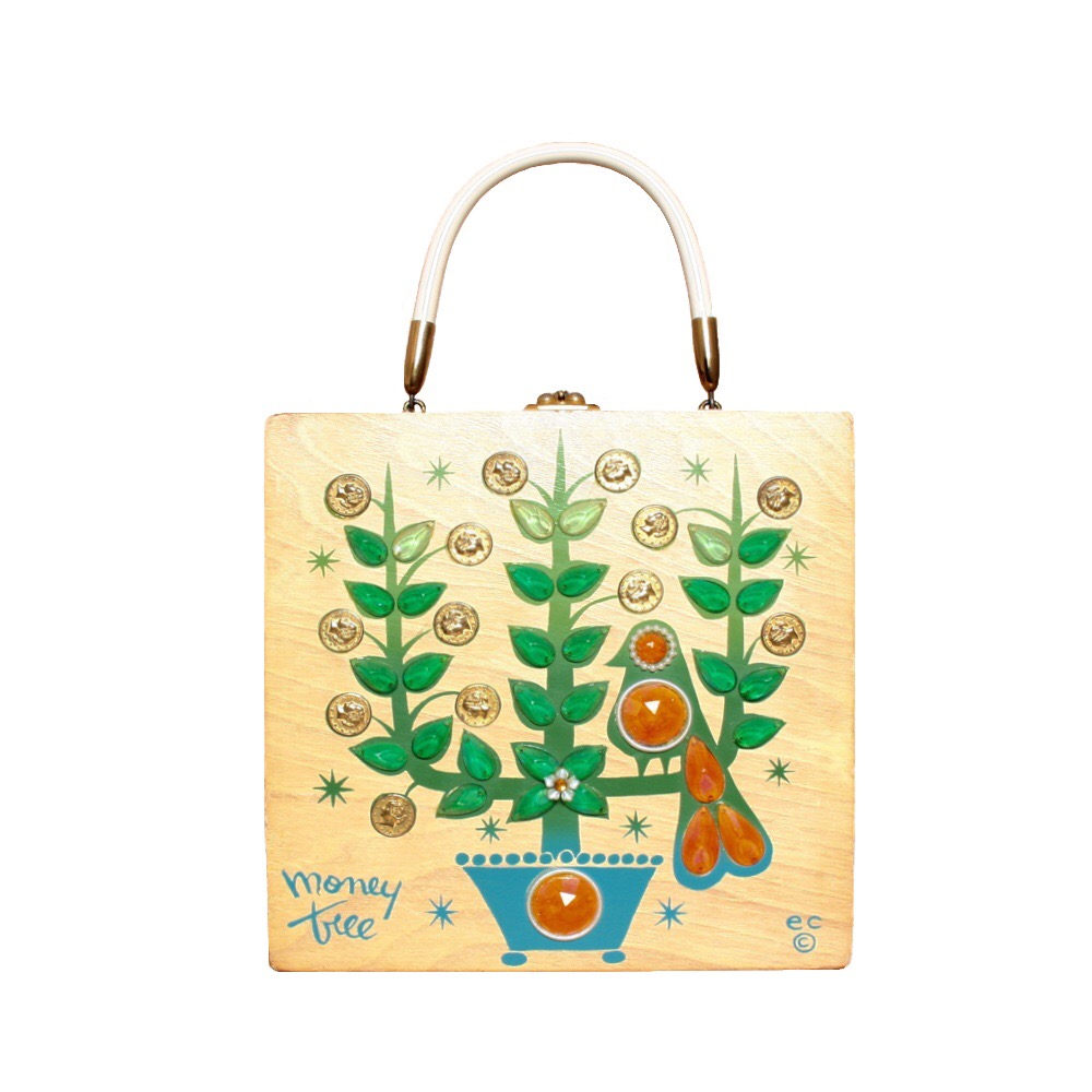 "Enid Collins of Texas ""moneytree"" box bag   height - 8 5/8""   width - 8 5/8""   depth - 2 7/8"""