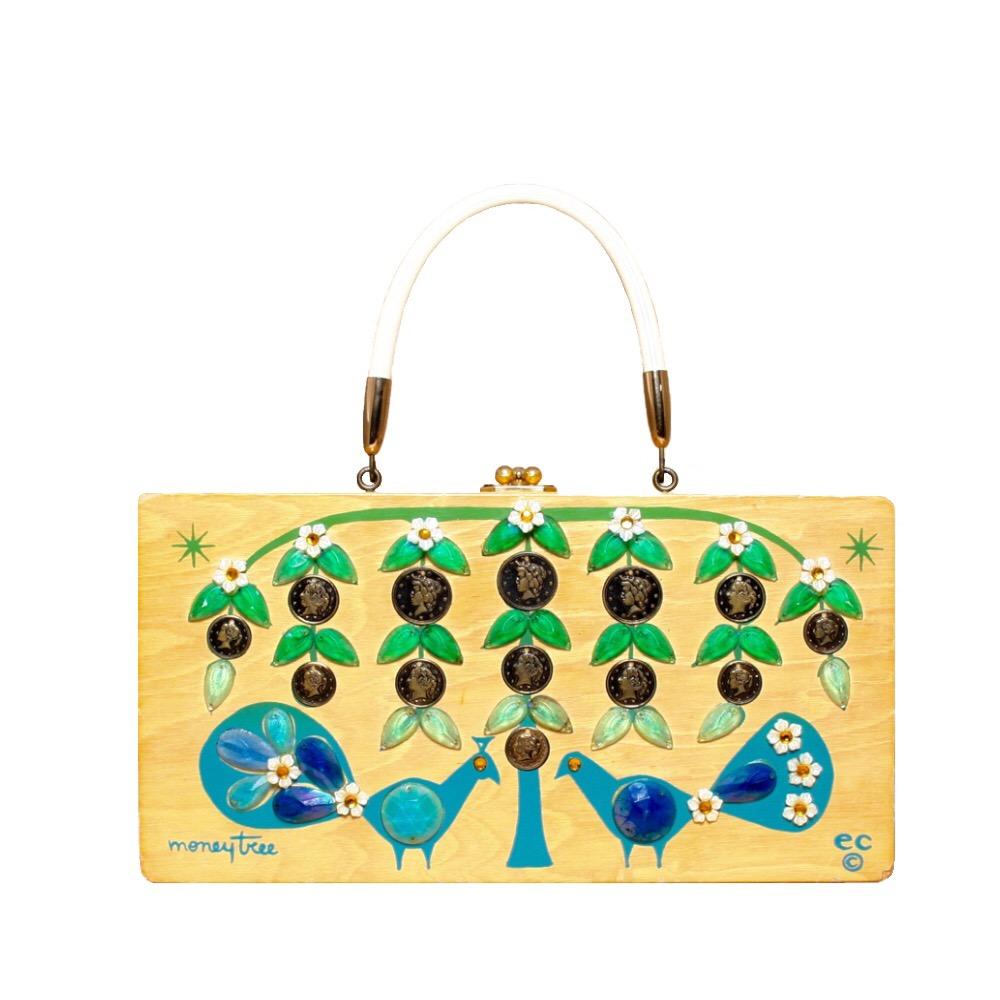 "Enid Collins of Texas ""moneytree"" box bag   height - 5 7/8""  width - 11 1/4""  depth - 2 7/8"""