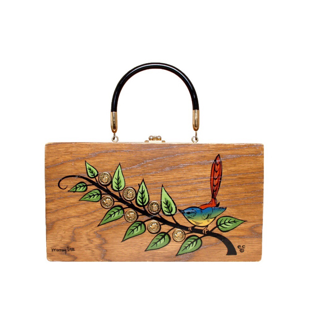 "Enid Collins of Texas 1967 ""money tree"" box bag   height - 6 1/2""  width - 12""  depth - 2 3/4"""