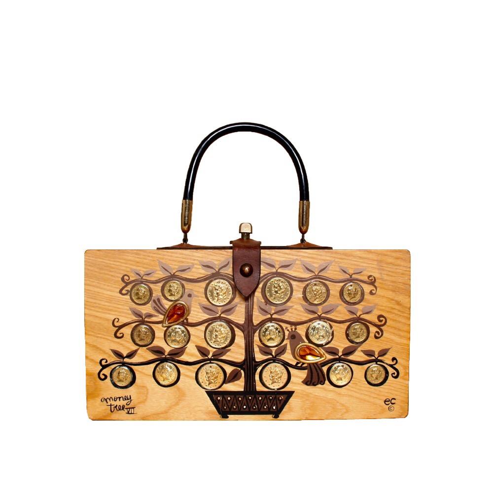 "Enid Collins of Texas 1963 ""moneytree VII"" box bag   height - 5 3/4""  width - 11 1/8""  depth - 2 3/4"""