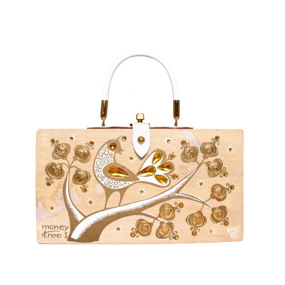 "Enid Collins of Texas 1963 ""moneytree I"" box bag   height - 6 1/2""  width - 11 7/8""  depth - 2 7/8"""