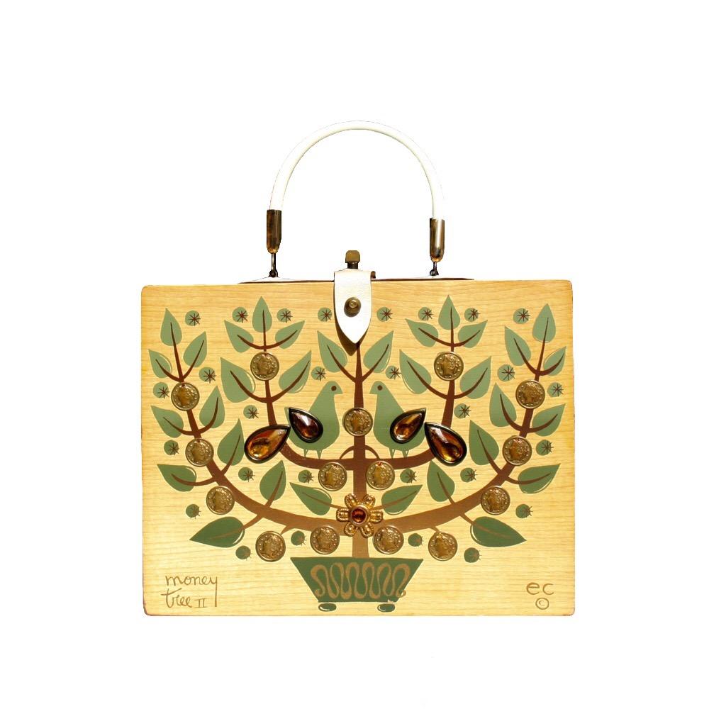 "Enid Collins of Texas 1965 ""moneytree II"" box bag   height - 8 1/2""  width - 11 1/8""  depth - 2 3/4"""