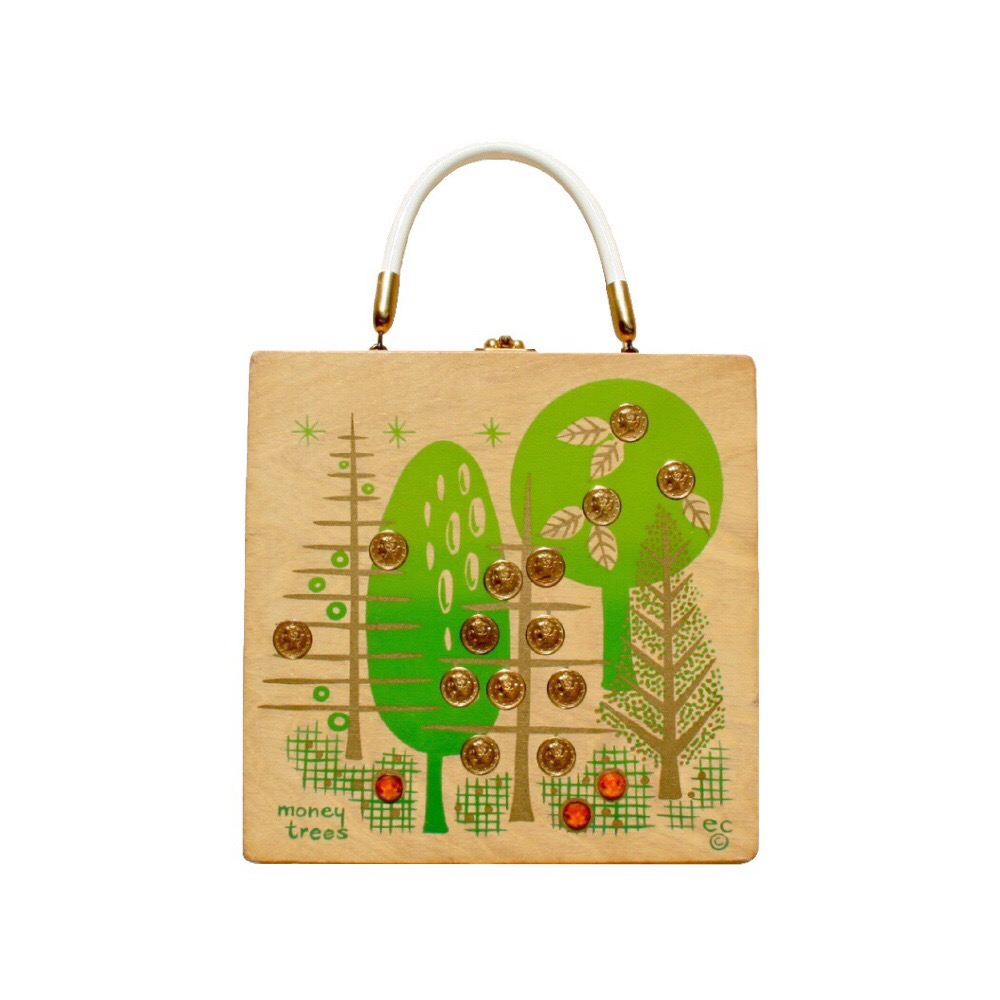 "Enid Collins of Texas ""moneytree"" box bag   height - 8 5/8""  width - 8 5/8""  depth - 2 3/4"""