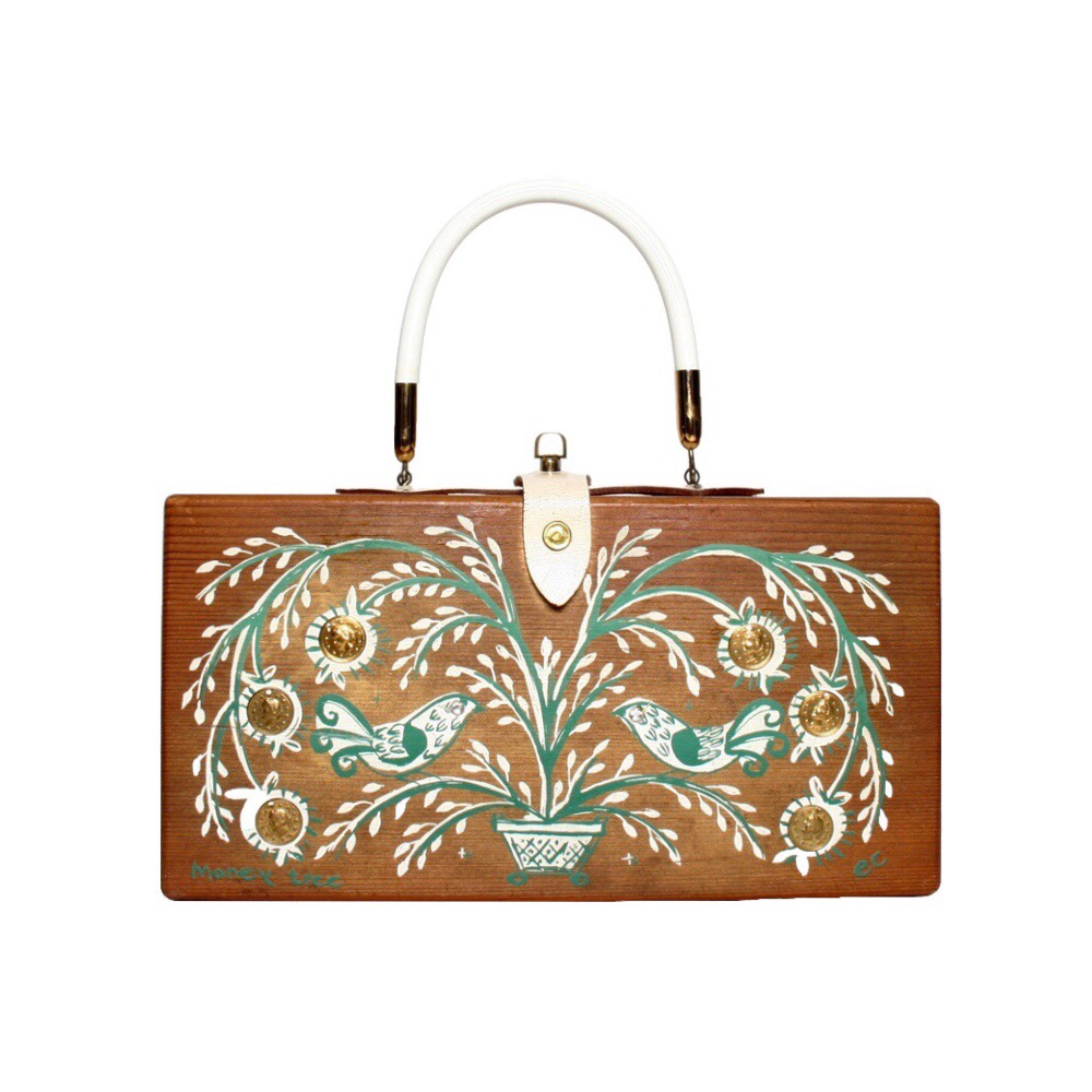 "Enid Collins of Texas ""moneytree"" box bag   height - 5 5/8""   width - 11""   depth -  3"""