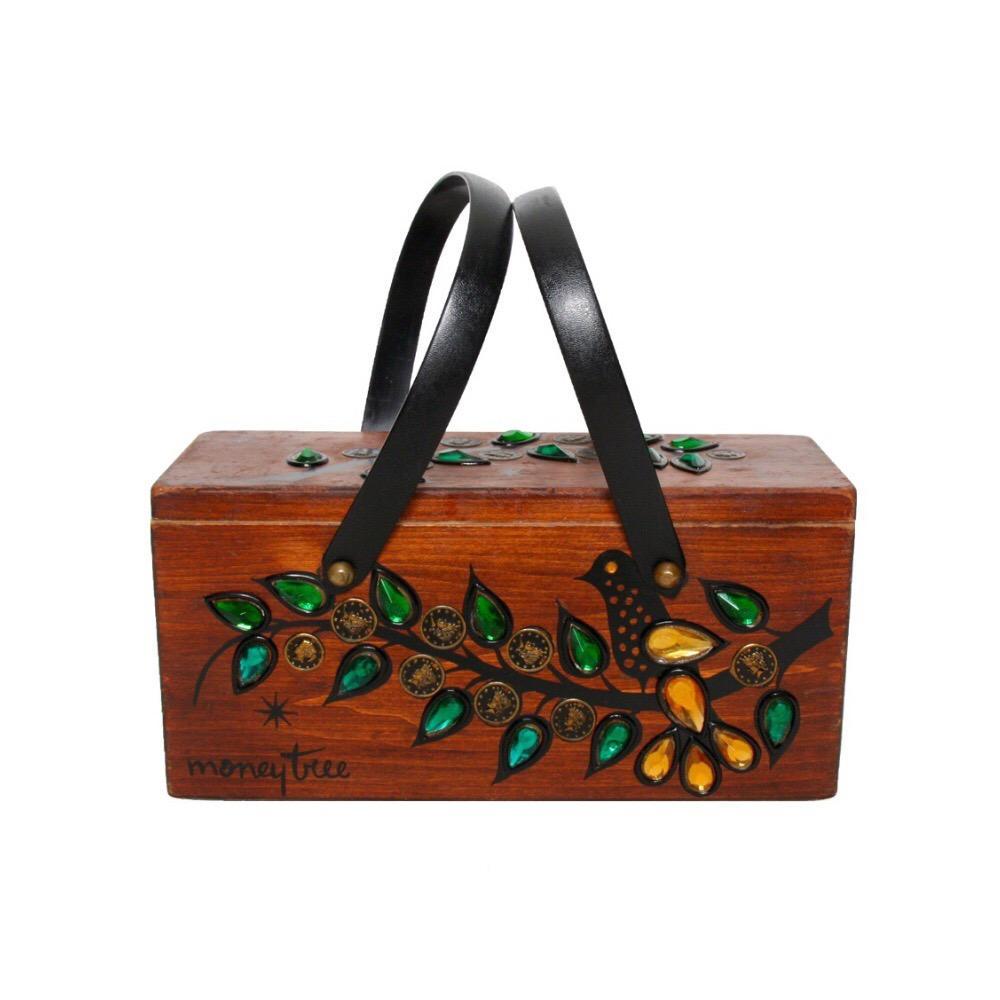 "Enid Collins of Texas ""moneytree"" box bag   height - 5 3/8""   width - 11 1/4""   depth -  4 1/4"""