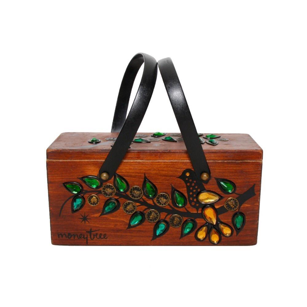 "Enid Collins of Texas ""moneytree"" box bag   height - 5 3/8""  width - 11 1/4""  depth - 4 1/4"""