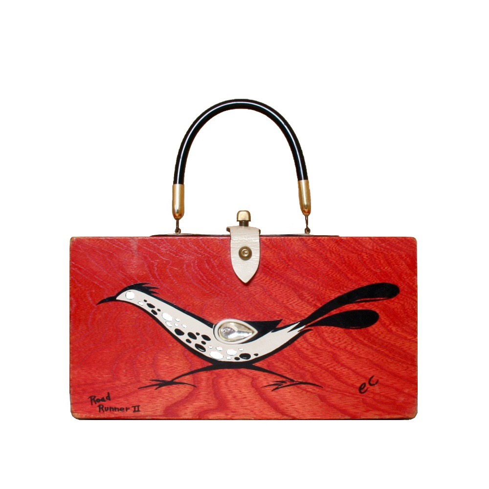 "Enid Collins of Texas 1966 ""Road Runner II"" box bag   height -  5 7/8""   width - 11 1/4""   depth -2 3/4 """