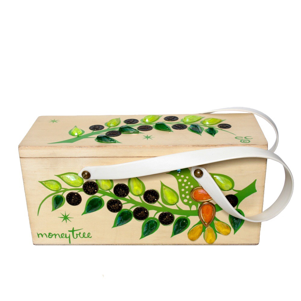 "Enid Collins of Texas ""money tree"" box bag   height - ""    width - ""    depth - """