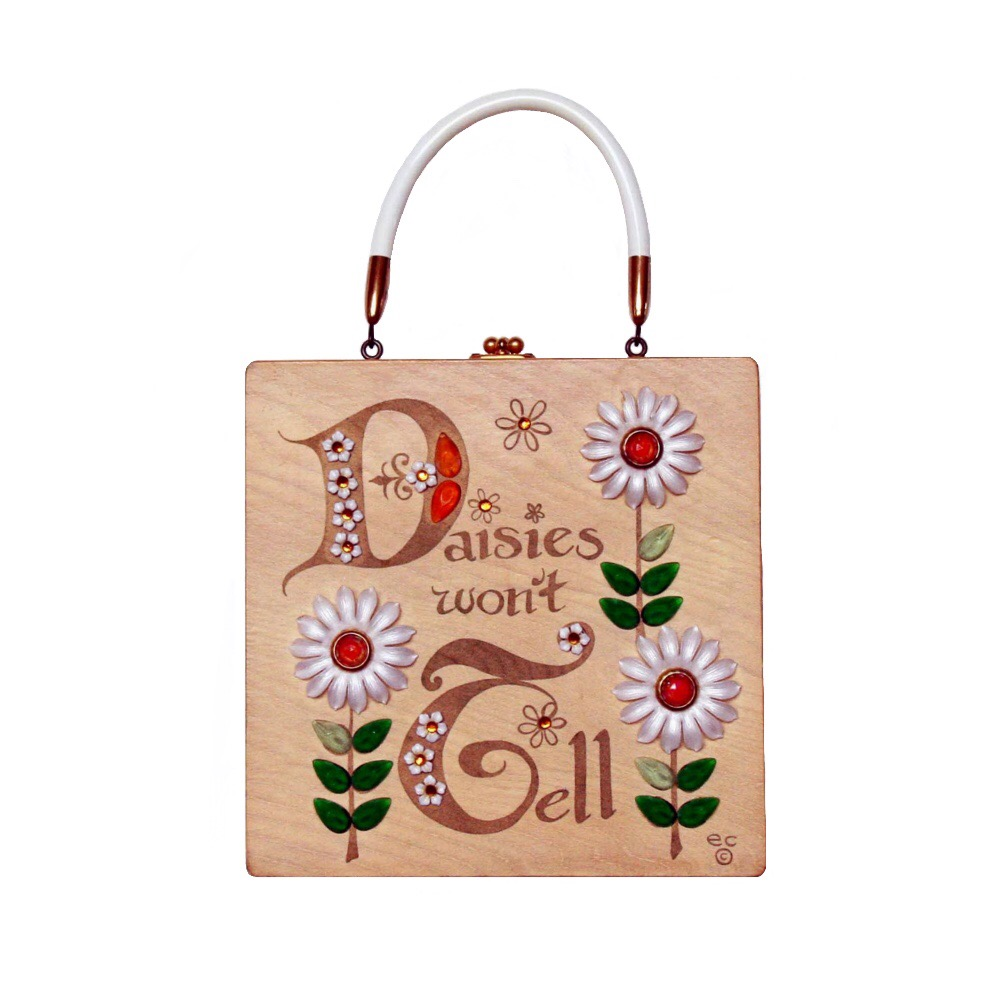 "Enid Collins of Texas ""Daisies won't tell"" box bag   height - 8 5/8""    width - 8 5/8""    depth - 2 3/4"""