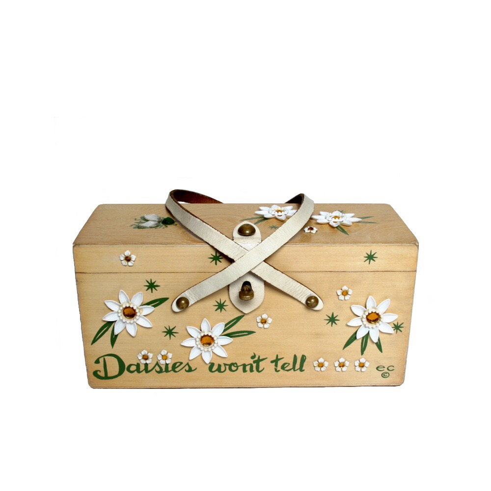 "Enid Collins of Texas 1966 ""Daisies won't tell"" box bag   height - 5 3/8""    width - 11 1/8""    depth - 5 3/8 """