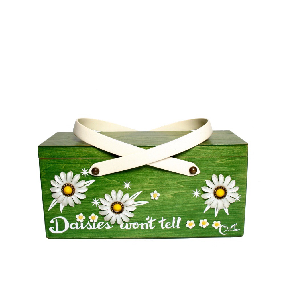 "Collins of Texas ""Daisies won't tell"" box bag   height - 5 3/8""    width - 11 1/4""    depth - 4 1/4 """
