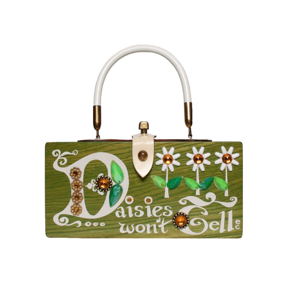 "Enid Collins of Texas ""Daisies won't tell"" box bag   height - 4 1/4""    width - 8 5/8""    depth -3 1/4"""