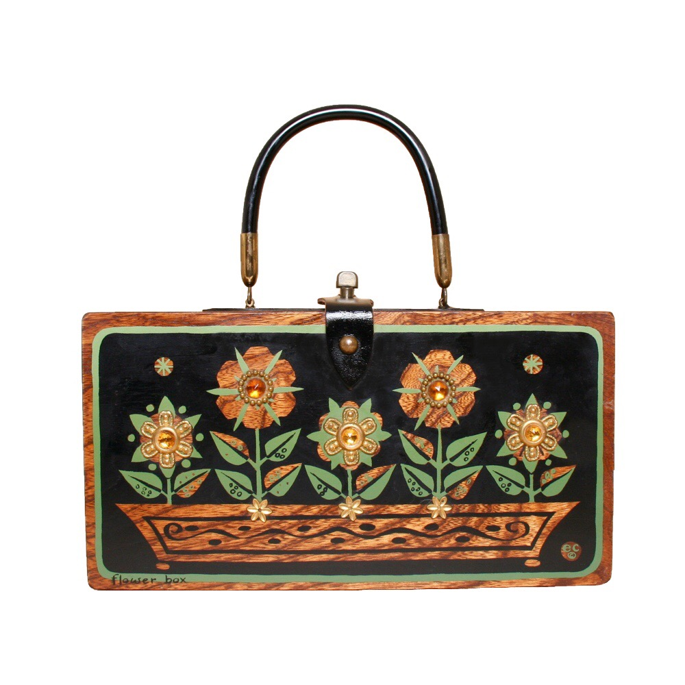 "Enid Collins of Texas ""flower box"" box bag   height - ""   width - ""   depth - """