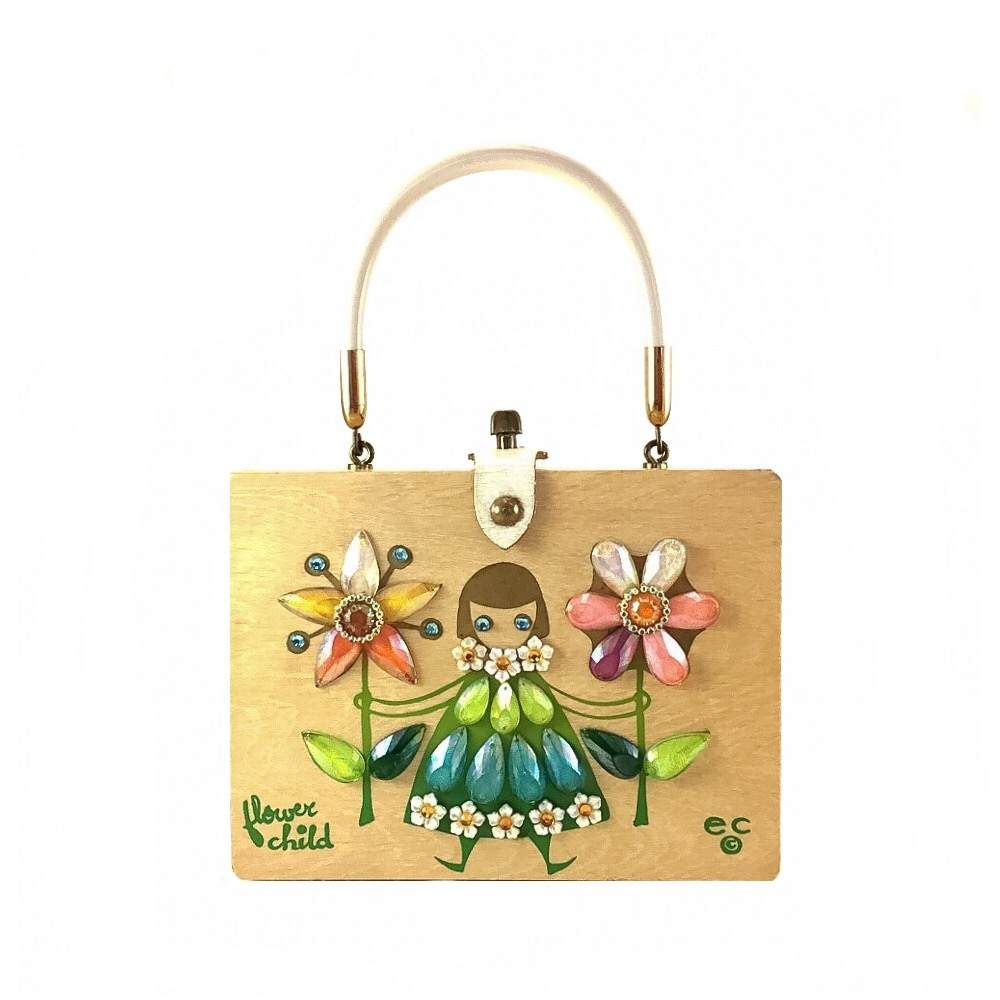 "Enid Collins of Texas ""flower child"" box bag   height - 5 7/8""    width - 7 7/8""    depth - 2 3/8"""
