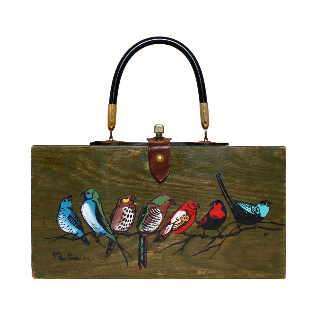 "Enid Collins of Texas 1966 ""for the birds"" box bag   height - 5 7/8""   width - 11 1/8""   depth - 2 3/4"""