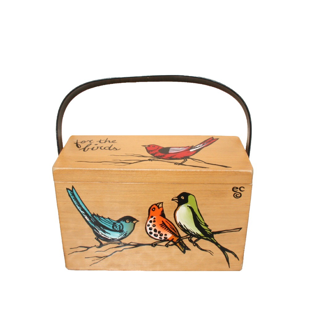 "Enid Collins of Texas ""for the birds"" box bag   height - 5 7/8""   width - 11 1/8""   depth - 2 3/4"""