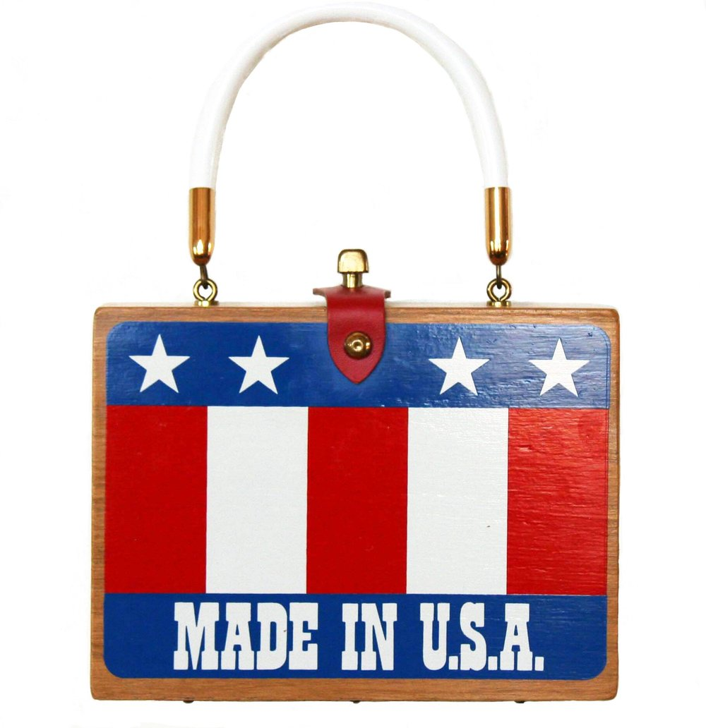 """Enid Collins of Texas """"MADE IN U.S.A"""" box bag   height - """"  width - """"  depth - """""""