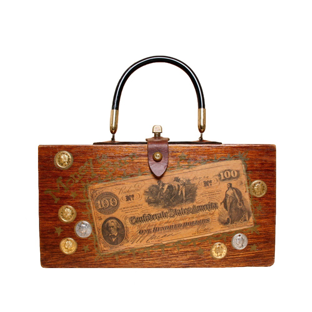 "Enid Collins of Texas ""Money to Burn"" box bag   height - ""   width - ""   depth - """
