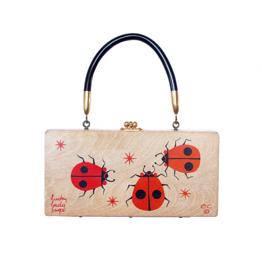 "Enid Collins of Texas ""lucky lady bugs"" box bag   height - ""   width -""   depth - """